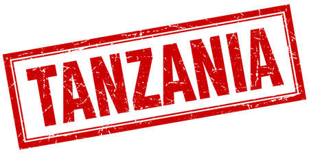 tanzania: Tanzania red square grunge stamp on white