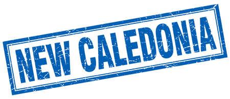 new caledonia: New Caledonia blue square grunge stamp on white Illustration