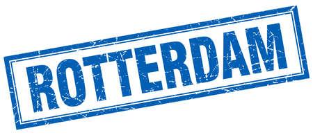 rotterdam: Rotterdam blue square grunge stamp on white