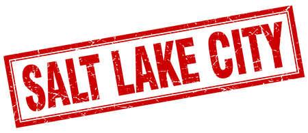 salt lake city: Salt Lake City red square grunge stamp on white