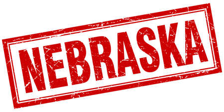 nebraska: Nebraska red square grunge stamp on white Illustration
