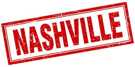 nashville: Nashville red square grunge stamp on white Illustration