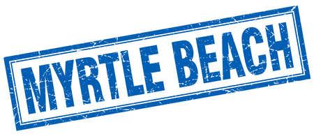 myrtle beach: Myrtle Beach blue square grunge stamp on white