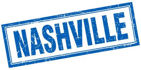 nashville: Nashville blue square grunge stamp on white Illustration