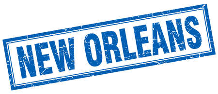 new orleans: New Orleans blue square grunge stamp on white