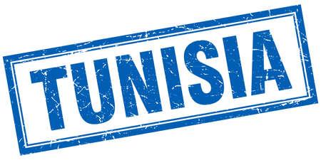 tunisia: Tunisia blue square grunge stamp on white