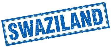 swaziland: Swaziland blue square grunge stamp on white Illustration