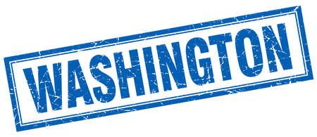 dc: Washington blue square grunge stamp on white