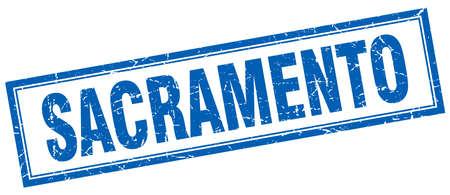 sacramento: Sacramento blue square grunge stamp on white