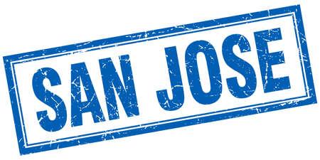 jose: San Jose blue square grunge stamp on white