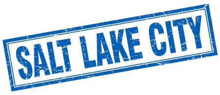 salt lake city: Salt Lake City blue square grunge stamp on white