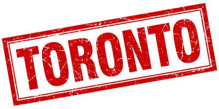 toronto: Toronto red square grunge stamp on white