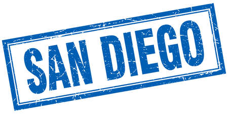 san diego: San Diego blue square grunge stamp on white