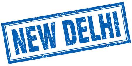 new delhi: New Delhi blue square grunge stamp on white Illustration