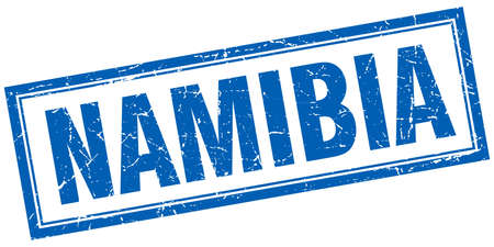 namibia: Namibia blue square grunge stamp on white