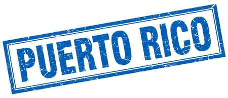 rico: Puerto Rico blue square grunge stamp on white Illustration