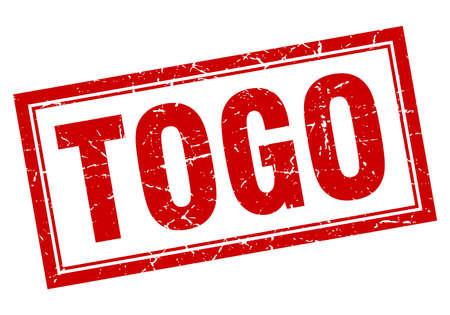 togo: Togo red square grunge stamp on white