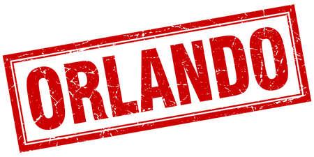 orlando: Orlando red square grunge stamp on white