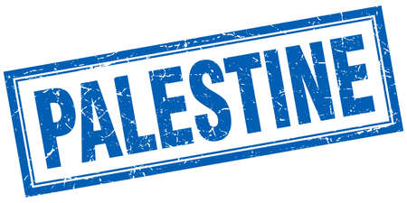 palestine: Palestine blue square grunge stamp on white Illustration