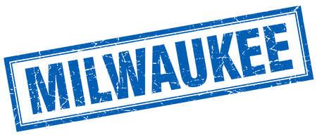 milwaukee: Milwaukee blue square grunge stamp on white