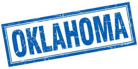 oklahoma: Oklahoma blue square grunge stamp on white