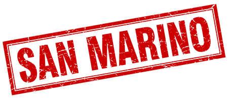 san marino: San Marino red square grunge stamp on white Illustration