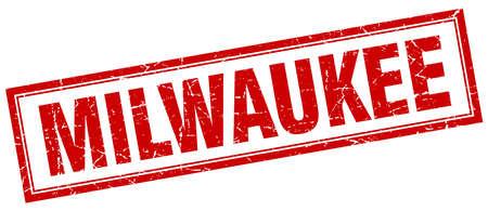 milwaukee: Milwaukee red square grunge stamp on white