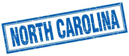 north carolina: North Carolina blue square grunge stamp on white Illustration