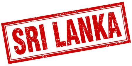 sri: Sri Lanka red square grunge stamp on white