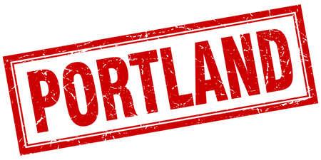 portland: Portland red square grunge stamp on white