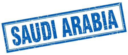 arabia: Saudi Arabia blue square grunge stamp on white Illustration