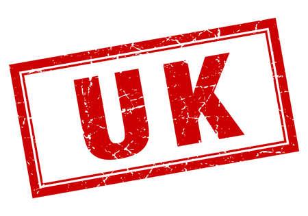uk: uk red square grunge stamp on white