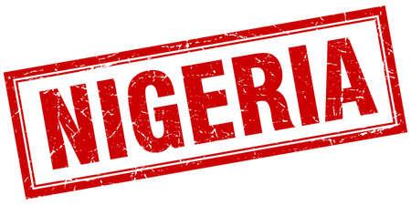nigeria: Nigeria red square grunge stamp on white