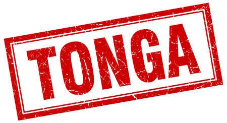 tonga: Tonga red square grunge stamp on white