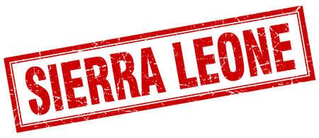 leone: Sierra Leone red square grunge stamp on white