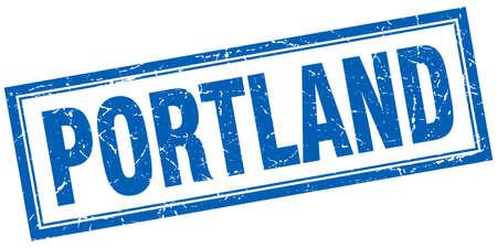portland: Portland blue square grunge stamp on white Illustration