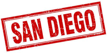 san diego: San Diego red square grunge stamp on white