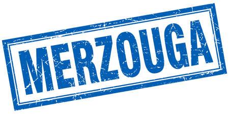 merzouga: Merzouga blue square grunge stamp on white