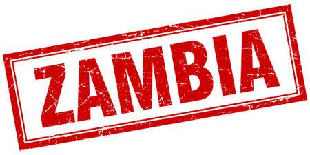zambia: Zambia red square grunge stamp on white