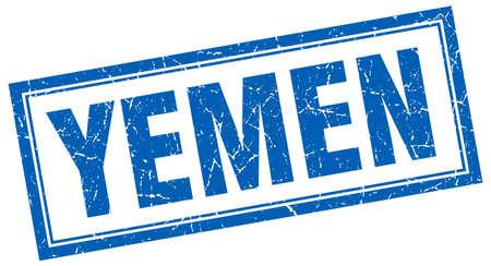 yemen: Yemen blue square grunge stamp on white Illustration
