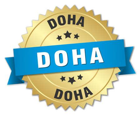 doha: Doha round golden badge with blue ribbon Illustration