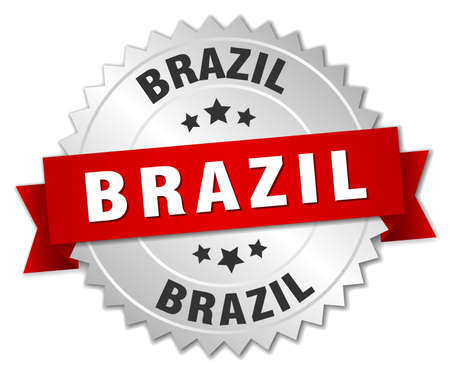 silver ribbon: Brazil  round silver badge with red ribbon Illustration