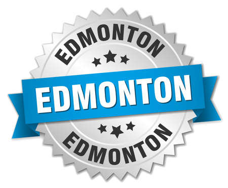 edmonton: Edmonton round silver badge with blue ribbon