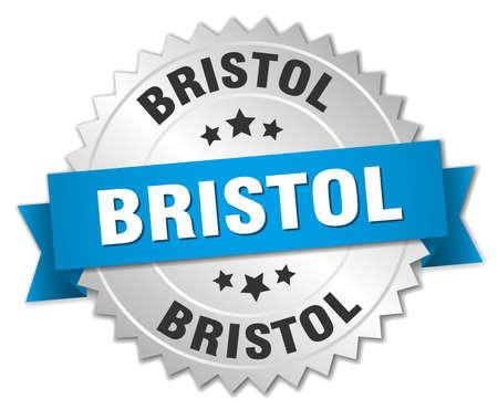 bristol: Bristol round silver badge with blue ribbon