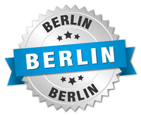 silver ribbon: Berlin round silver badge with blue ribbon Illustration
