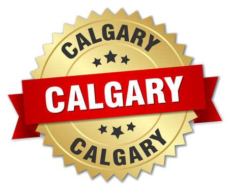 calgary: Calgary round golden badge with red ribbon