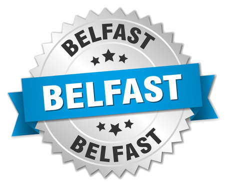 belfast: Belfast round silver badge with blue ribbon Illustration