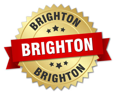 brighton: Brighton round golden badge with red ribbon