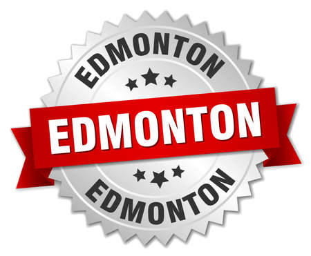 edmonton: Edmonton  round silver badge with red ribbon