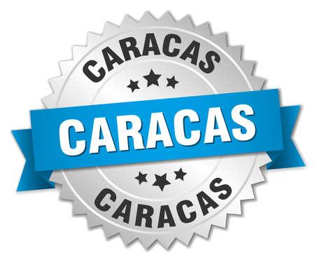 caracas: Caracas round silver badge with blue ribbon